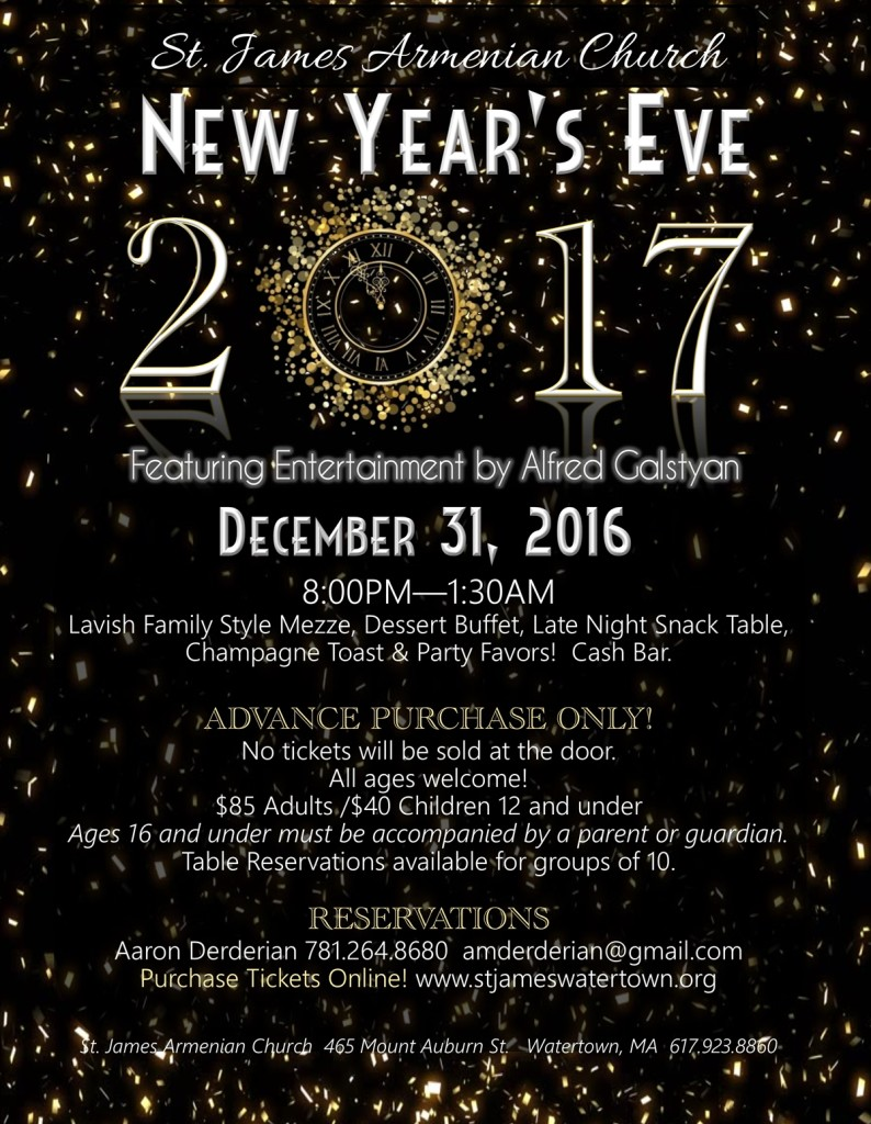 Upcoming Events 2017 New Year's Eve Celebration!
